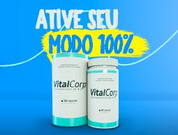 VitalCorp 100% da dose diária de todas as vitaminas.Publicidade Centrofarma.