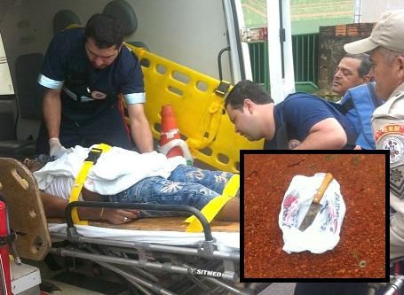 Enildo foi socorrido pelo Samu em estado grave; em destaque, faca utilizada no crime - Foto: GazetaMT