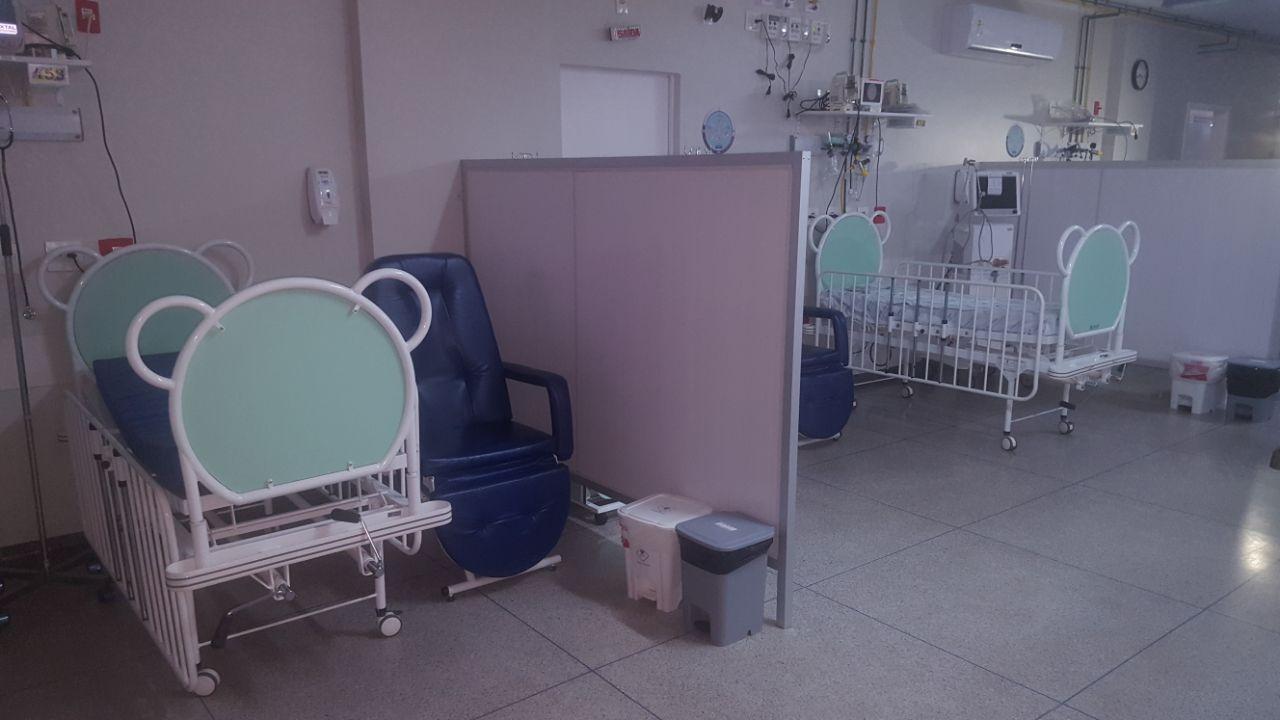 UTI pediátrica com leitos vazios após fechamento. Foto: Assessoria