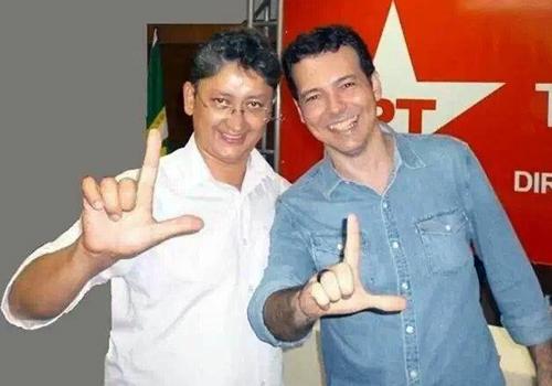 Cleomar Pilar, à esquerda, ao lado do candidato petista ao governo do Estado em 2014, Lúdio Cabral. Foto: Reprodução
