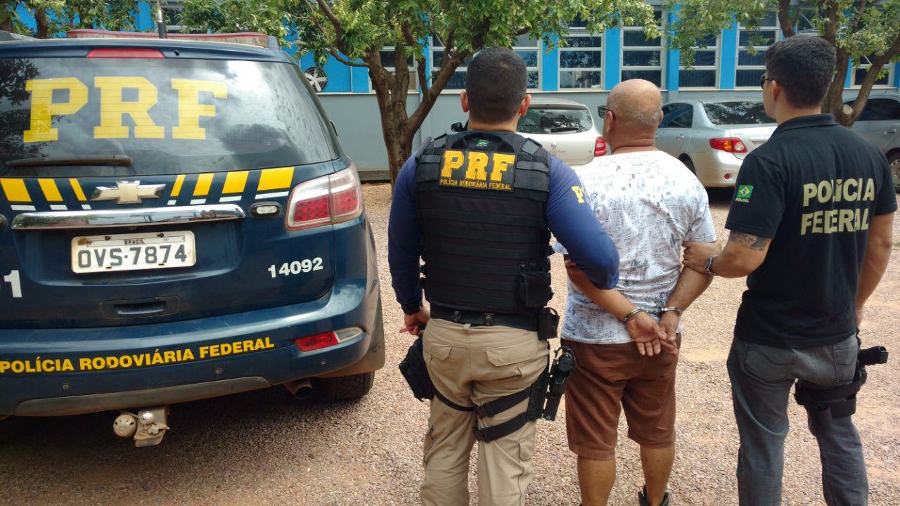Motorista preso por tráfico de drogas. Foto: divulgação PRF/MT.