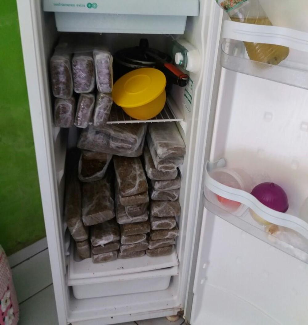 Tabletes da droga escondidos em geladeira. Foto: divulgação PM/MT.