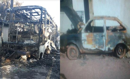Dois veículos foram incendiados na madrugada desta segunda feira(24) Foto: PJC
