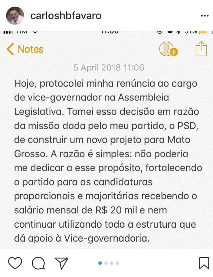 Comunicado postado por Fávaro em uma rede social. Foto: Reprodução