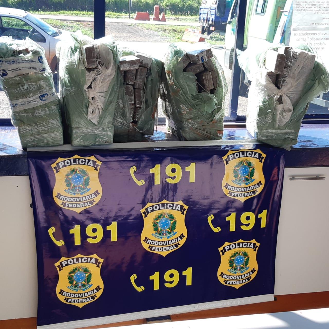 Foram apreendidos 157 kg de maconha e 106 gramas de cocaína. (Foto: divulgação PRF/MT)