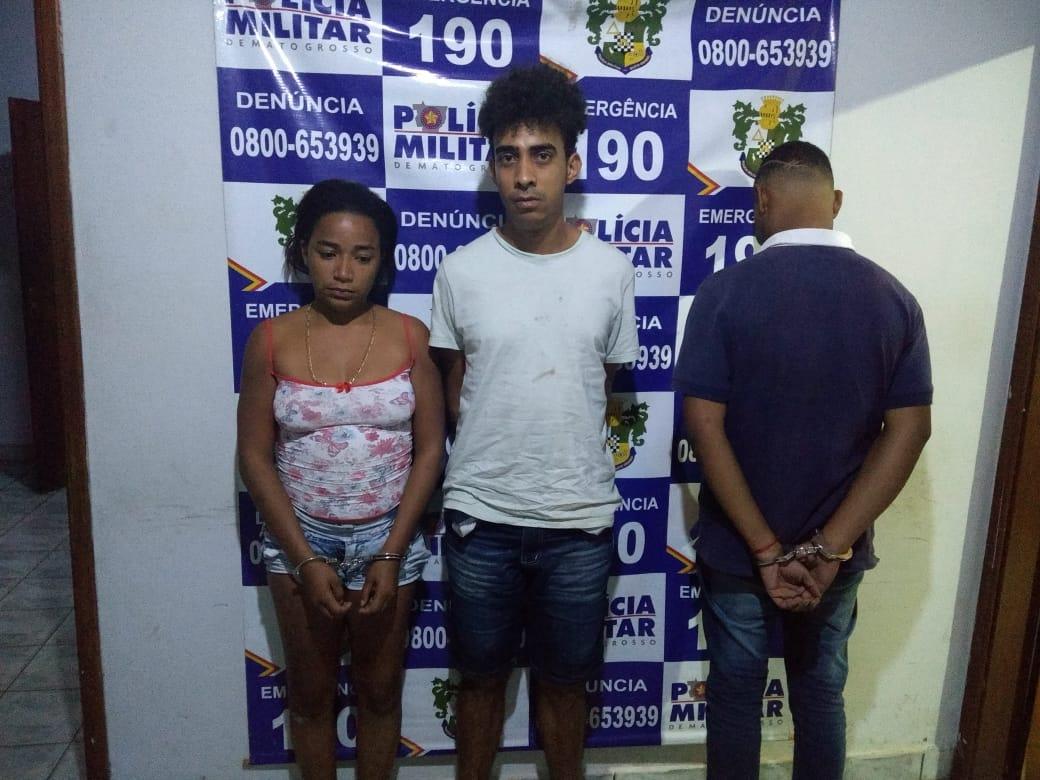 Robson de Jesus Pereira, Patrícia de Oliveira Pedro e o adolescente. (Foto: divulgação PM/MT)