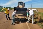 Prefeitura inicia tapa buraco em principais corredores de escoamento de safra