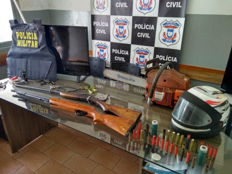 Materiais apreendidos e recuperados pela polícia. (Foto: divulgação PJC/MT)